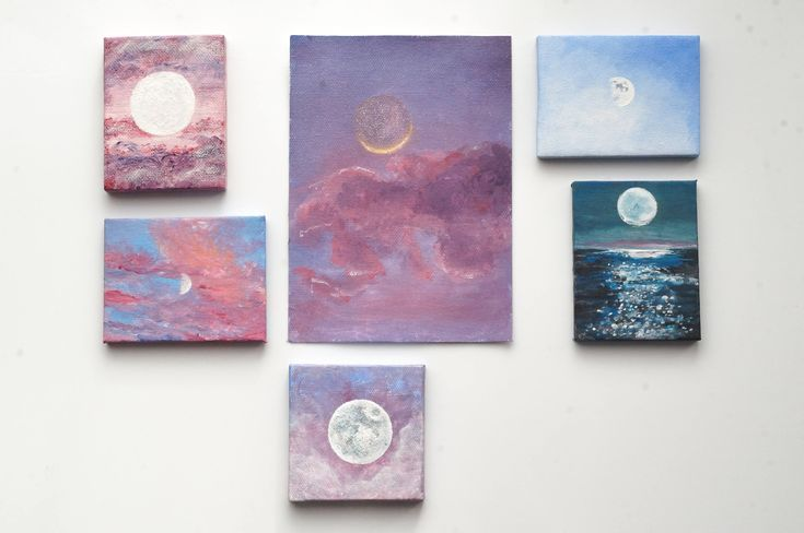 Miniature Moon Painting, Mini Canvas Acrylic Moon Paintings Wall Art for Nursery or Art for your Desk with Mini Easel, Moon Gifts, Moon Art