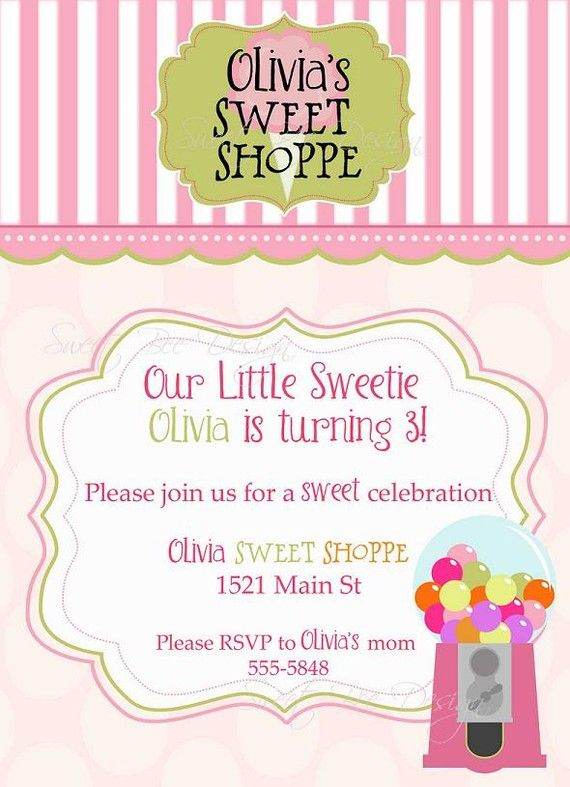 Printable Sweet Shoppe Birthday or Baby Shower Invitation by SweetBeeDesignShoppe