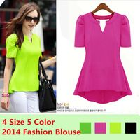 New Fahion 2015 Chiffon  Blouses & Shirts OL Womens Ladys Peplum Tops Frill Puff Sleeve Fitted Shirt V Neck Summer Holiday 1 pcs