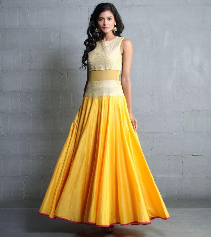 Yellow Cotton Silk Dress With Aari Work