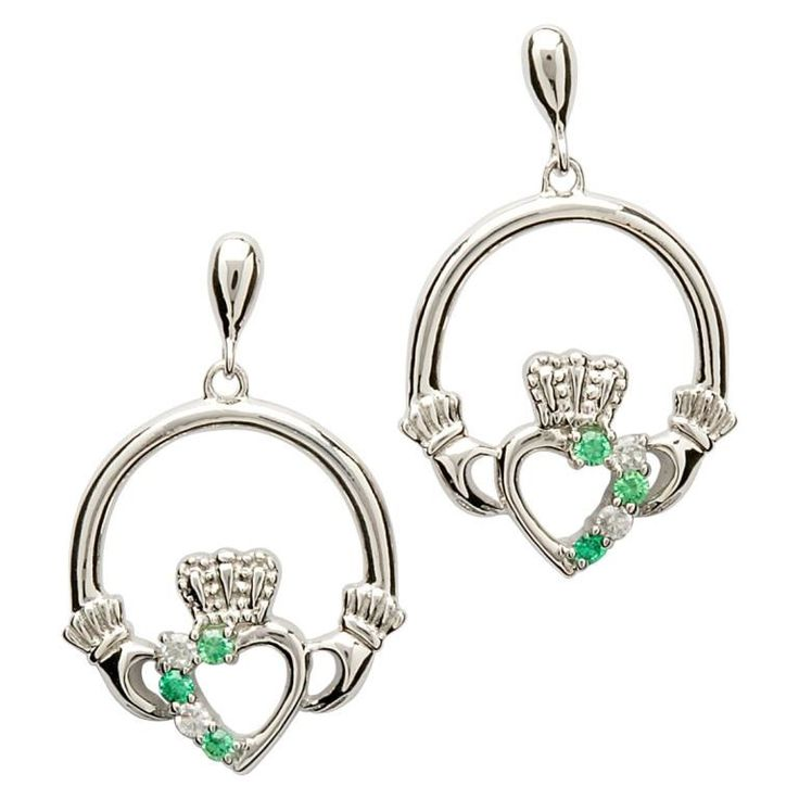 Claddagh Heart Set Earrings - Celtic Earrings - Rings from Ireland. Sterling silver Claddagh with cubic zirconia.