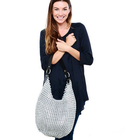 check out this hot Aussie shop, BrisbaneFashions on etsy, this boho bag in shiny silver is actually created with upcycled can pop tops! Eco Chic delight. Laura Hobo Bag by BrisbaneFashions on Etsy