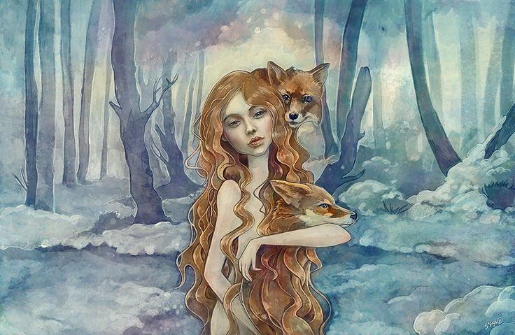 Winter fox, fantasy portrait girl with fox    design by strijkdesign