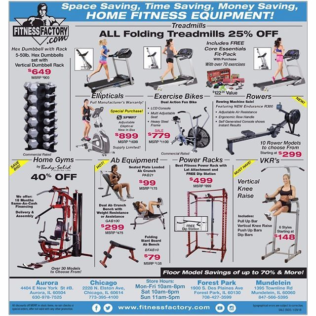Space saving time saving money saving home fitness equipment this weekend at Fitness Factory  70% off floor models 40% off home gyms 25% off folding treadmills and more!   Learn more at fitnessfactory.com or click link in bio.  #chicago #forestpark #mundelein #aurora #homefitness #homeworkout #spacesaving #timesaving #moneysaving #fitness #fitfam #homegym #homegyms #treadmill #treadmills #weights #freeweights #weighttraining #weightlifting #fitnessfactory