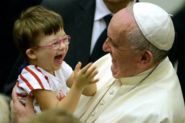 Pope Francis laughing with child!