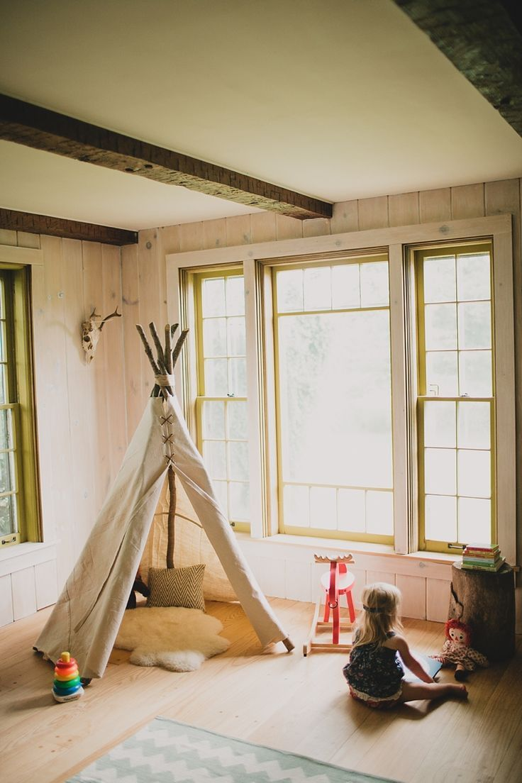 DIY: teepee... Every kid needs a little private place to hide away from time to time, and the more creative the place the more uses. Imagine all the games that could center around a major prop like this teepee