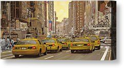 Buy Canvas Prints - taxi a New York Canvas Print by Guido Borelli