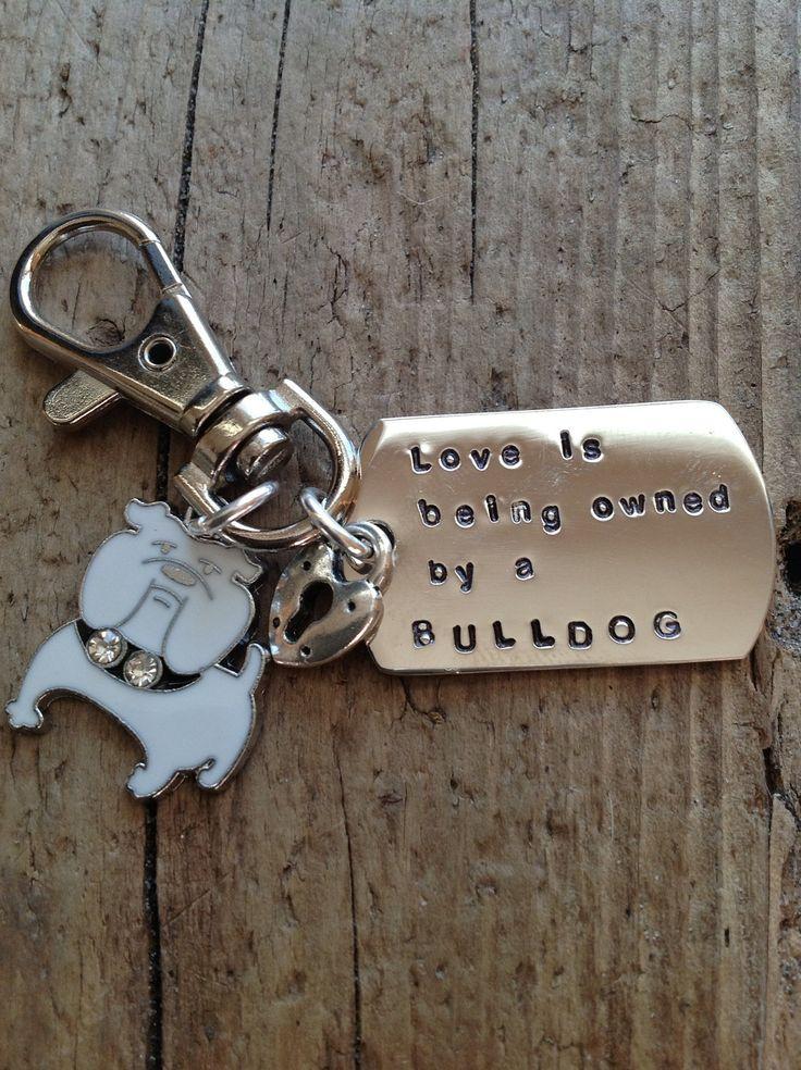 Bulldog Lover Keychain Tag. $18.00, via Etsy.