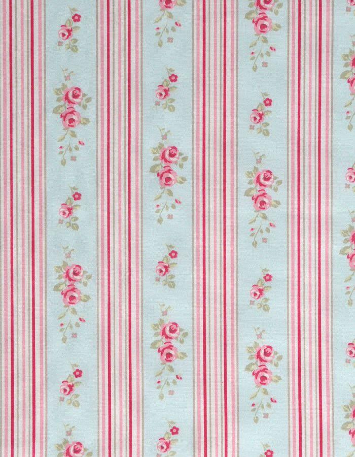 z. SAMPLE Oilcloth Fabric Floral Stripe Duckegg