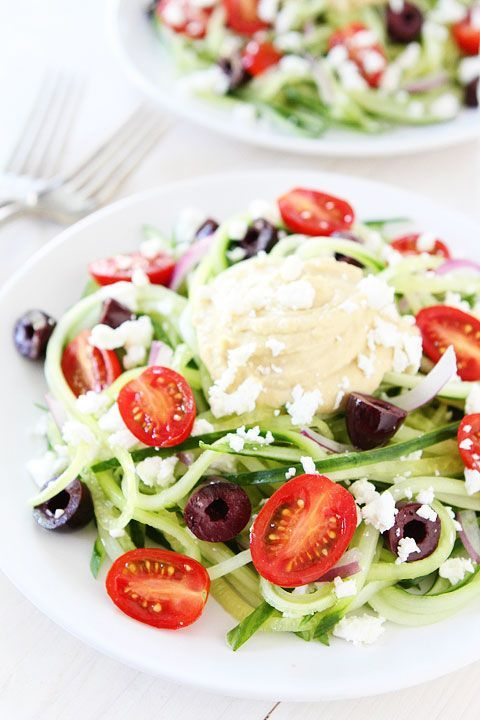 Greek Cucumber Noodles Recipe on http://twopeasandtheirpod.com Love this fresh and healthy dish! #glutenfree