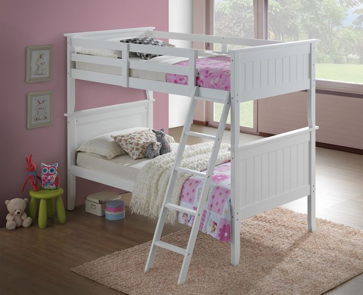 Get the most out of your space with our classic white bunk beds with a tilt ladder. Our bunk beds feature solid pinewood construction with attractive panel headboards and footboards. Materials: Sturdy