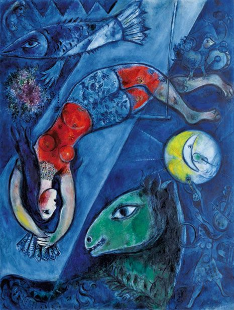 Marc Chagall (Vitebsk, 1887 - Saint-Paul de Vence, 1985).  The Blue Circus (Le cirque bleu).  Year 1950-52.  Oil on linen canvas.  Sizes 232.5 x 175.8 cm.  Property  Centre Pompidou, Paris. Musée national d´art moderne/Centre de création industrielle. Dation 1988. On loan, Musée national Marc Chagall, Nice.  © RMN / Gérard Blot.