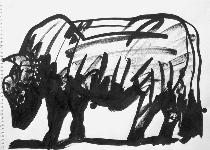 Vattenbuffel, tusch, 30x40cm