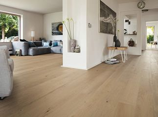 Cork flooring in wide plank