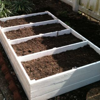 Shelf found on the curb reconfigured into raised garden bed.