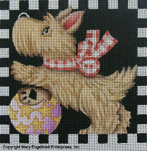Hand-painted Needlepoint Canvas ~ Scottie with Ball – Mary Engelbreit Studios