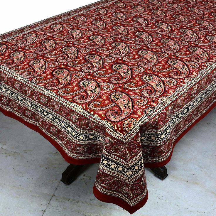 Charming Linen Tablecloth Rectangle Indian Handloom Fabric Floral Design Home Decor
