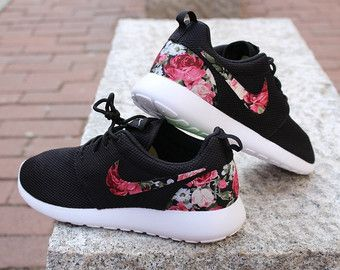 Floral Nike Roshe Run Custom Black White Roses by rixcustoms