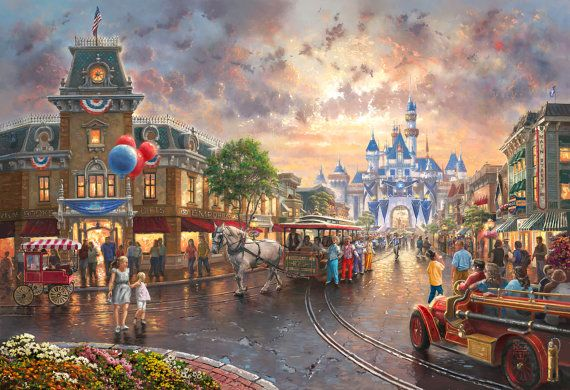 """60th Anniversary Disneyland   ICONIC DISNEY CASTLE in background  Thomas Kinkade  This wonderful reproduction brings together the Fantastic Light of Kinkade with the Classic Magic of Disney...  Blending into something wonderful for All Ages  One of his Most Loved and Important Works of Art  Not just a print, but beautifully Double Matted in our shop to enhance the painting  Ready for framing, it will look terrific in the frame you choose  Wonderful Gift for """"Children"""" of all ages that will…"""