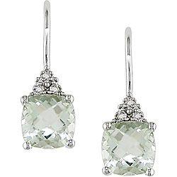 Prasiolite (green amethyst) and diamonds drop earrings. Via overstock.com