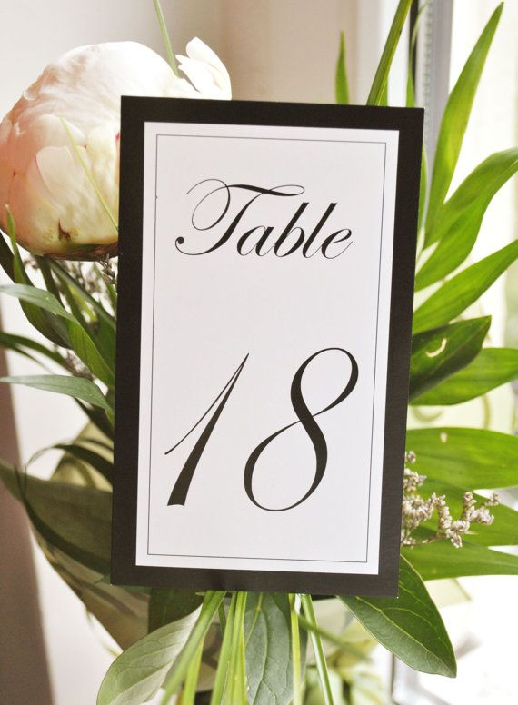 Wedding Table Numbers I Elegant black and white by FunkyBoxStudio