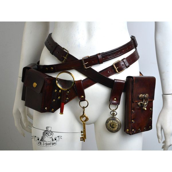 Ultimate steampunk belts kit (240 AUD) ❤ liked on Polyvore featuring accessories, checkered belt, genuine leather belts, 100 leather belt, real leather belts and steampunk belt