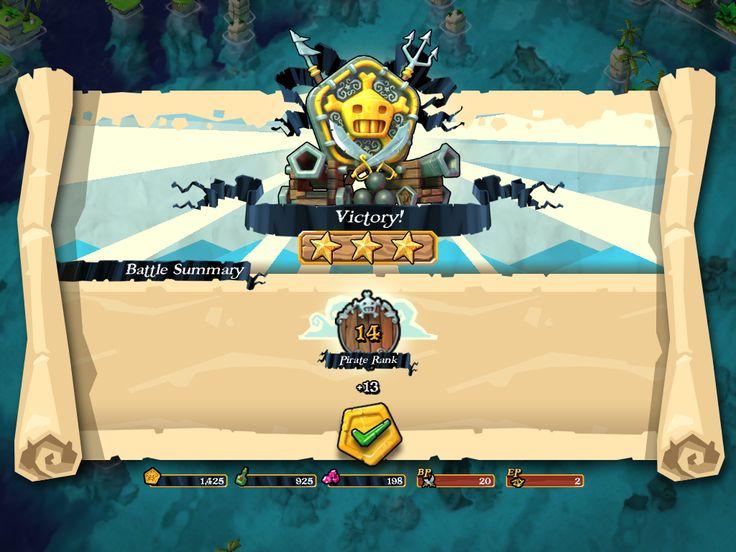 Plunder Pirates by Midoki - Combat Victory Reward Screen - Game UI HUD…