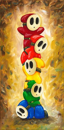 Rainbow of Shy Guys! Super Mario Bros Fan Art by Katie Clark