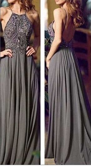Halter Floor Length Chiffon Prom Dresses Beads Bodice pst0063 on Storenvy