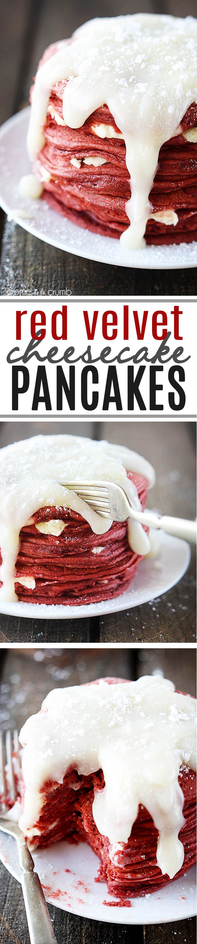 Red velvet cheesecake pancakes will start your Valentine's Day off right. Top red velvet pancakes with cream cheese icing to make this stellar breakfast work of edible art. This dish is bound to be the most colorful part of your family's breakfast spread.
