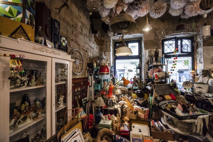 With bike-wheel clocks, retro curios, and Amy Winehouse dolls, this chic boutique on Kazinczy Street is an appealingly cluttered counterpart to Szimpla Kert.