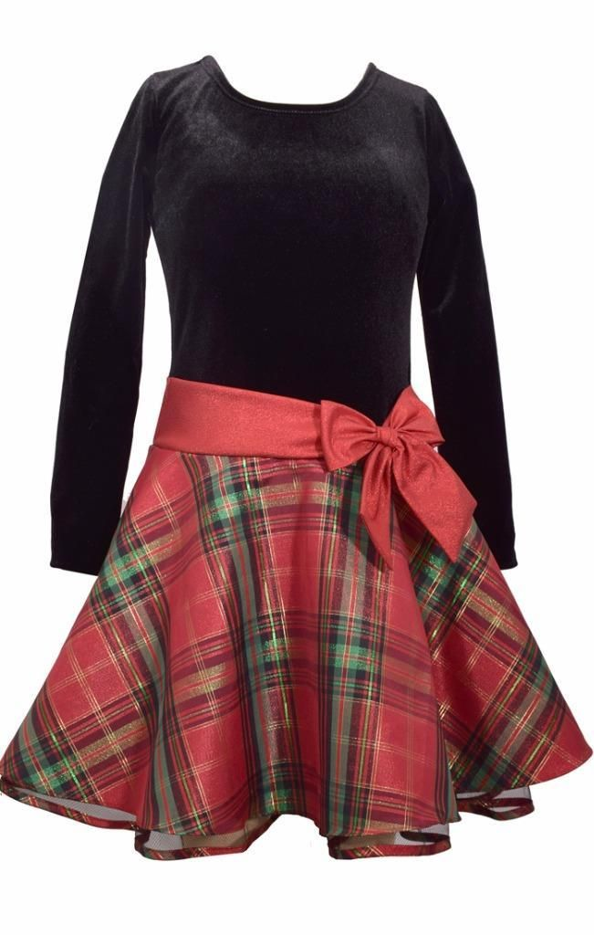 8c88a12e2568 Bonnie Jean Black Velvet Christmas Dress Red Plaid Long Sleeve, 2T –  Kristin's Great Finds