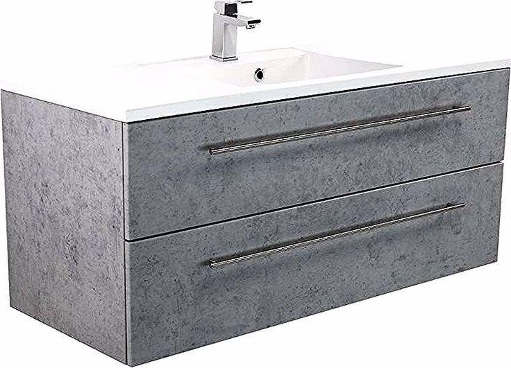 Meuble Omnia 120 Cm Monte Tiroirs Avec Des Bords Chanfreines Aspect Beton Emotion In 2020 Vanity Bathroom