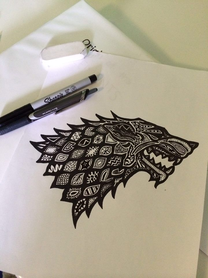 Amazing House Stark Direwolf Sharpie Drawing ... | Game of Thrones Fan Art