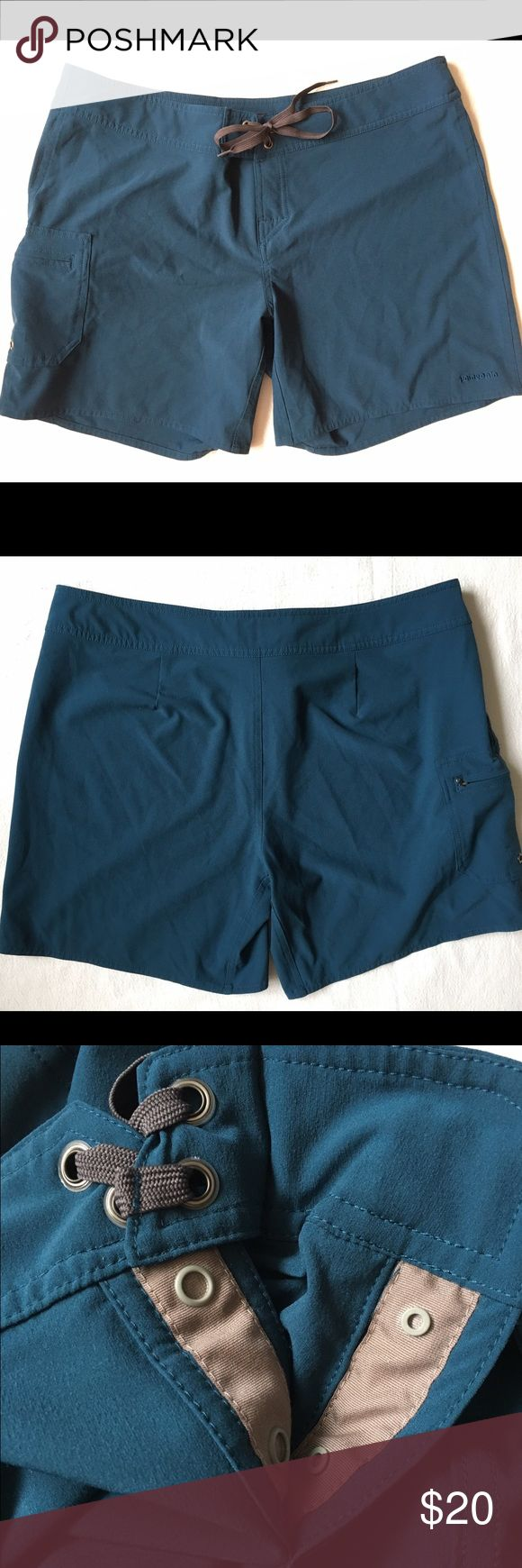 Women's Patagonia Outdoor Board Shorts | Teal EUC! These are in like-new condition! Worn once. These are women's Patagonia board shorts in a size 14. Includes pocket and Lace up closure with snaps. Patagonia Shorts