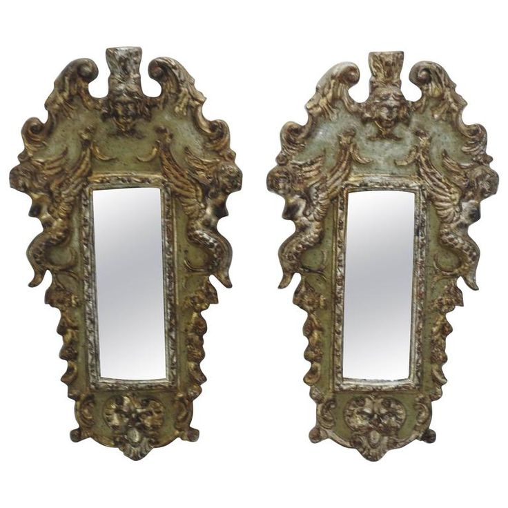 French Carved Wooden Accent Wall Mirrors | From a unique collection of antique and modern wall mirrors at https://www.1stdibs.com/furniture/mirrors/wall-mirrors/