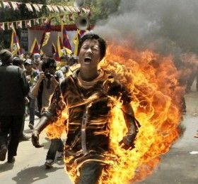 The Tibetan man who set himself on fire to protest against a visit by China's president left a letter to his fellow Tibetans calling on them to continue fighting for their rights.  (Photo: Reuters / Adnan Abidi)  Tibetan activist and exile Jamphel Yeshi, 27, runs through the streets on fire in protest of the arrival of China's president, Hu Jintao.Yeshi died from his self inflicted injuries. Please do not do this and please help if you can.