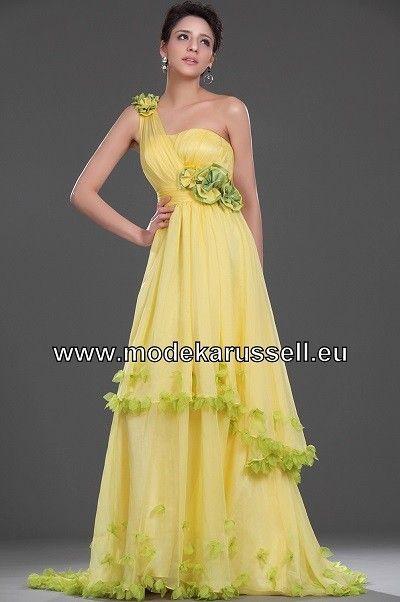 Romantisches A Linie Abendkleid Online in Gelb