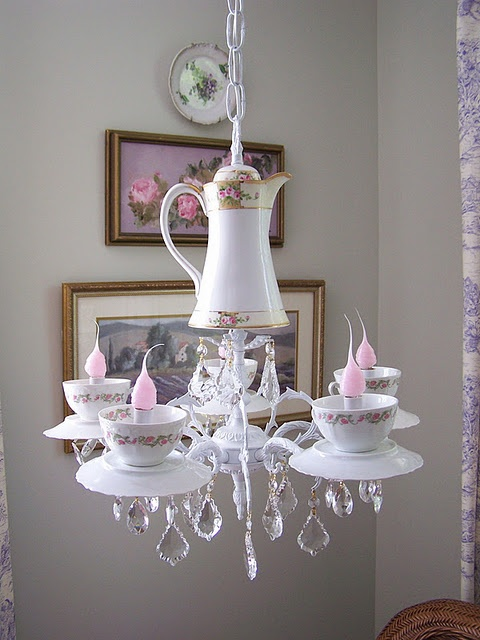 Tea pot chandelier.  Isn't this charming?