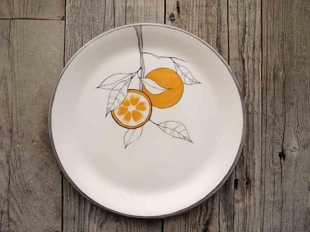 Objetos de decoración - Plato con naranjas - hecho a mano por altercrea en DaWanda