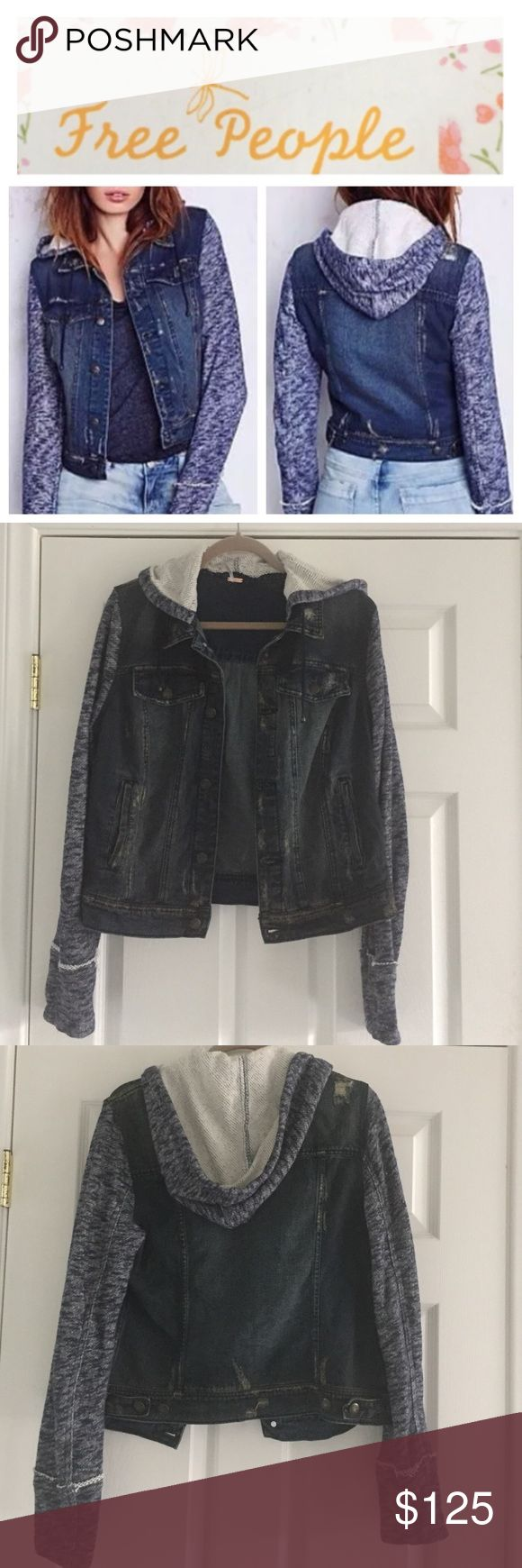 Free People hoodie jean jacket Free People jean jacket hoodie, indigo rinse, size large.  Distressed with the look of wear.  Super cute for fall!  NWT model pics from Free People website to show fit & styling. Free People Jackets & Coats Jean Jackets
