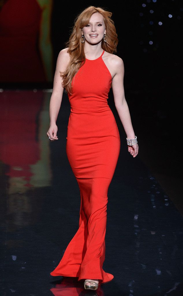Bella Thorne hits the runway in Badgely Mischka at the Heart Truth Red Dress Show.