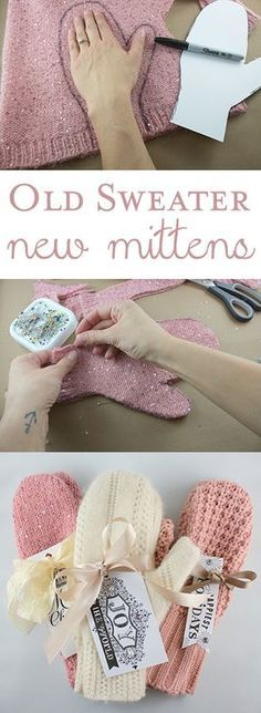 fabriquer des moufles en recyclant un vieux pull