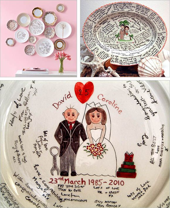 Guest Book Platter: Grab the moments of your wedding event with the best souvenir and genuine messages that you can treasure and display for a long time. A platter is indeed a great guest book alternative. Don't forget to bake in your home oven to protect and seal on the messages.      Read more: http://weddingphotography.com.ph/9965/20-creative-guest-book-ideas-wedding-reception/#ixzz1wrAyt4LY