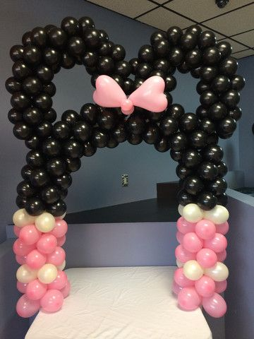DIY Minnie Mouse or Mickey Mouse Arch Kit   Air filled  arch fits  over a 6 foot table.  Kit includes frame, balloons, instructions and how to video tutorial.    Available in many colors including black and red.   Shown in Pink and Black.  Use the PIN20 coupon code to save 20% on your order