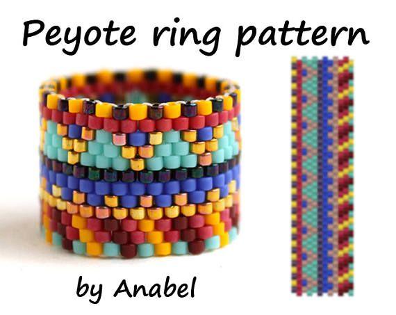 Peyote ring pattern Wide beaded ring pattern Seed bead ring pattern Beaded jewelry pattern Even count peyote stitch Easy beading pattern
