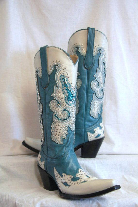 Something blue for a western wedding? Blue corral boots with approximately 1,900 Swarovski Crystals... that's some major bling! <3