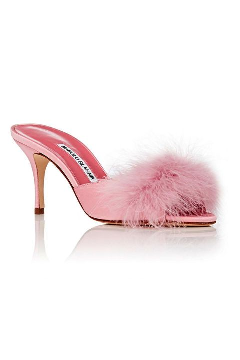 Make a statement in these pink feather Manolo slides for your Valentine's Day date with bae.