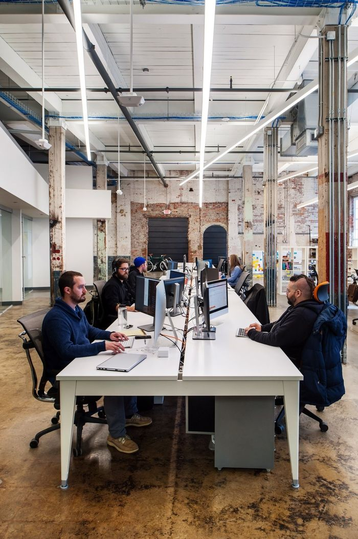 futuristic office ditches cubicles super. The CO+LAB Office In Richmond, VA Has Shared Desk Space And An Industrial Futuristic Ditches Cubicles Super