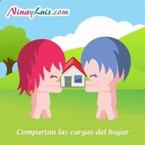 Nina y Luis, cargar con las responsabilidades, relacion de pareja, amor, dibujos tiernos, compartir en pareja, ninayluis.com/...